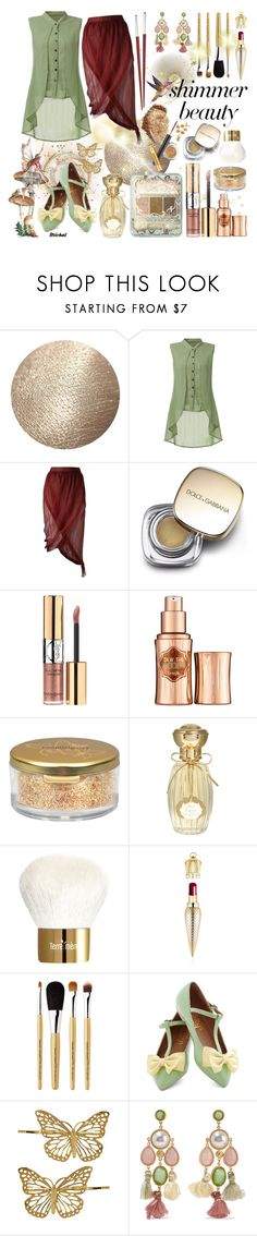 """""""Shimmer Beauty"""" by michal100-15-4 ❤ liked on Polyvore featuring beauty, Romeo Gigli, Dolce&Gabbana, Yves Saint Laurent, Benefit, Napoleon Perdis, Annick Goutal, Terre Mère, Christian Louboutin and shu uemura"""
