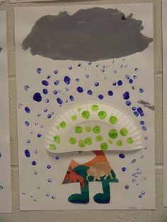 Eileens Class: Walking in the rain craft Use half a paper plate for the umbrella, finger paint raindrops, use scraps to make body.