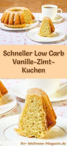 Rezept für einen Low Carb Vanille-Zimt-Kuchen: Der kohlenhydratarme, kalorienreduzierte Kuchen wird ohne Zucker und Getreidemehl zubereitet ...