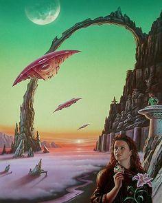 Santos Garijo - The Return. Cover for Interzone: Science Fiction and Fantasy magazine, 1996 Art Science Fiction, Fiction Movies, Sci Fi Movies, 70s Sci Fi Art, Classic Sci Fi, Alien Worlds, Futuristic Art, Retro Art, Sci Fi Fantasy