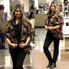 Stylish Soft Cozy Aztec Print Fashion Cardigan in Burgundy/Tan - Andreas Boutique #ootd #ootn #blog