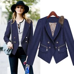 European Women Blazers And Jackets 2016 Spring Autumn Double-Breasted Long-Sleeved Slim Coat Women Jackets For Women