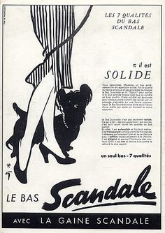 Scandale (Stockings) 1952, Dog Vintage advert Lingerie illustrated by René Gruau