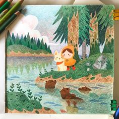 """""""Drawing again! And having adventures that are otter this world 🌲💙🐾"""" Children's Book Illustration, Character Illustration, Digital Illustration, Colored Pencil Artwork, Cute Art, Illustrations Posters, Watercolor Art, Fantasy Art, Concept Art"""