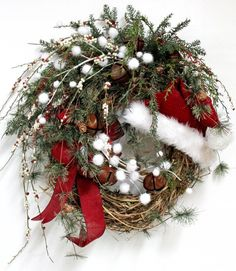 This should be easy to make! Buy a twig wreath, pine swag a red bow, Santa hat and different garnishes and hot glue everything on! Perfect Christmas wreath!!!