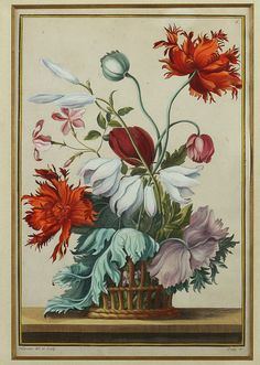 JEAN-BAPTISTE PILLEMENT (French, 1728-1808). Bouquet of Flowers, Hand-colored engraving; published by Jean-Baptiste Crépy. Framed.