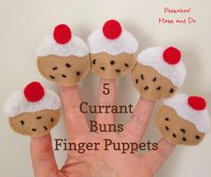 Sew your own little finger puppets to use with simple rhymes and songs. 5 Currant Buns