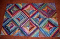 Anleitung Dicke Decke - throw/blanket made w diamond-shaped blocks knitted with sock yarn