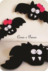 morcegos de halloween para janelas em feltro
