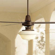 "72"" Turbina XL Schoolhouse Oil-Rubbed Bronze Ceiling Fan - #7C878-7C931-4K994 | Lamps Plus"