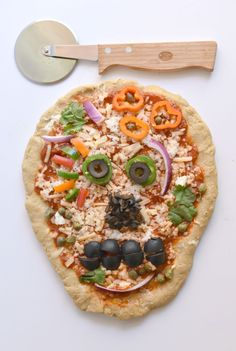 Day of the Dead Pizza Skulls made with Enjoy Life pizza crust (free of the Top 8 food allergies!)
