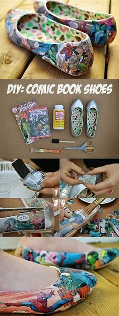 Comic Book Shoes – Tutorial... or, what to do with the extra Love & Rockets I have in my bottom drawer... Go Los Bros