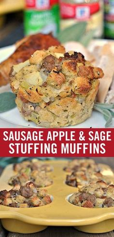 """This classic stuffing recipe holds its own at the holiday table in the convenient form of a muffin. Loaded with all the traditional stuffing flavors – sage, apple and sweet sausage – they're a close contender for """"favorite Thanksgiving side."""" Pop the muff Thanksgiving Side Dishes, Thanksgiving Recipes, Fall Recipes, Holiday Recipes, Thanksgiving 2017, Classic Stuffing Recipe, Stuffing Recipes, Stuffing Muffins, Sausage Stuffing"""