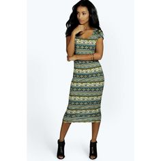 Boohoo Lydia Cap Sleeve Aztec Midi Dress ($7) ❤ liked on Polyvore featuring dresses, slip dress, floral midi dress, floral print dress, polka dot maxi dress and midi dress