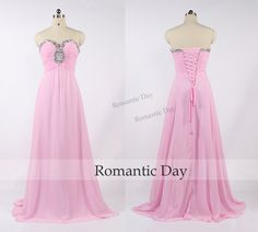 Sweetheart Beads A-Line Chiffon Lace-Up Long Prom Dresses/Pink Prom Dress/Pink Evening Dress/Custom Made 0435