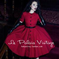 Envío gratis Le palais vendimia elegante rojo clásico collar de peter pan media manga de una sola pieza del vestido