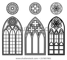 Gothic windows of cathedrals and castles with roses elements. Line and pattern, decoration and structural. Vector illustration