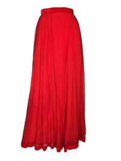 Vintage Harrods 1950s Evening Red Silk Chiffon Maxi Evening Skirt