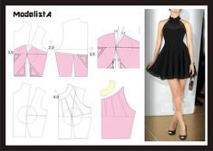 VESTIDO CON MOLDE Dress Sewing Patterns, Sewing Patterns Free, Free Sewing, Sewing Tutorials, Clothing Patterns, Diy Clothing, Sewing Clothes, Fashion Sewing, Diy Fashion