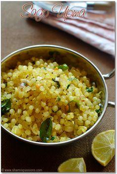 Sago Upma (Sabudana Upma) Sabudana Recipes, Sago Recipes, Bean Recipes, Brunch Recipes, Breakfast Recipes, Healthy Recipes, Healthy Food, Yummy Food, Indian Snacks