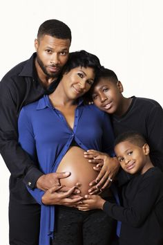 Terri J. Vaughn and husband Karon Riley, and family.