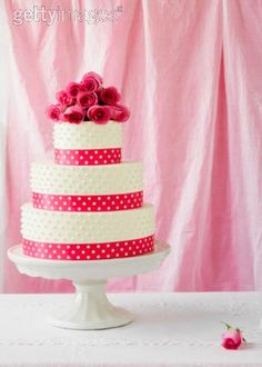 "Idea for our wedding cake. Love the ""polka dot"" detail. Maybe a thinner hot pink ribbon band. Gorgeous!"