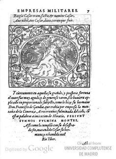 """1562: Art history reference, especially symbols, might be useful for embroidery designs.  """"Dialogo de las empresas militares y amorosa by Paolo Giovio.  Tons of great images, no time to upload them all now.  http://babel.hathitrust.org/cgi/pt?id=ucm.5322480534"""