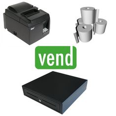 Vend Point of Sale Hardware Bundle with Star TSP143LAN Ethernet Receipt Printer suitable for Vend POS Software. iPad Compatible with Vend Application. The Bundle Includes: 1 x Star TSP143III LAN Receipt Printer 1 x Cash Drawer with 5 Notes & 8 Coins 1 x Box of 80x80 Thermal Paper Rolls Ipad Stand, Cash Register, Point Of Sale, Pos, Printer, Hardware, Software, Food Truck, Drawer