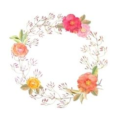 Vector image of Watercolor flower wreath background Vector Image, includes white, background, wallpaper, design & print. Illustrator (.ai), EPS, PDF and JPG image formats.