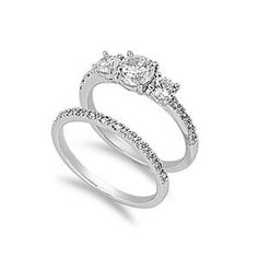 Three Stone .925 Sterling Silver Simulated Diamond Engagement Ring Set