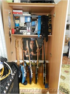 a diy guitar storage cabinet