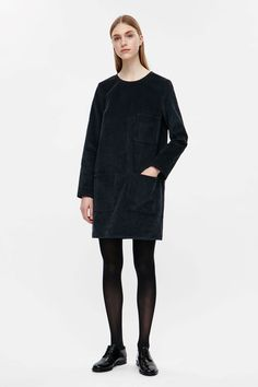 31c95bfb7e18 COS image 1 of Corduroy dress in Navy Winter Dress Outfits