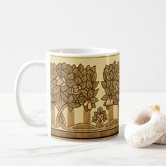 Vintage 1914 Arts And Crafts Style Fruit Trees Coffee Mug - antique gifts stylish cool diy custom