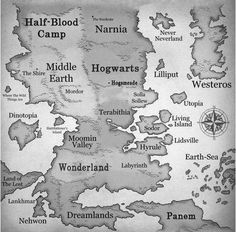Fictional Map. I think this would be awesome framed in a playroom or kid's bedroom!.... OR MY ROOM! :) LOL