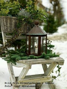 Mixed Greens - House Dressing - beautiful ways homes have been decorated for Christmas - via French - Grey