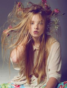 Hair and flowers...
