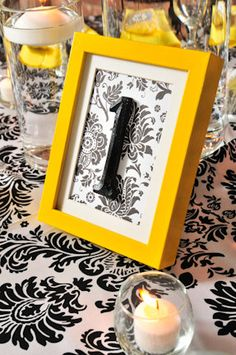 My yellow, black, and white table numbers! So CUTE!