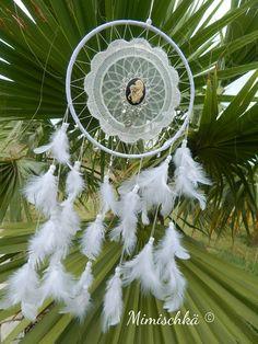 Décoration attrape-rêves dreamcatcher plumes catrina folklore mexicain : Décorations murales par mimischka