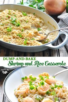 With just 10 minutes of prep, this Dump-and-Bake Shrimp and Rice Casserole is a delicious and easy dinner recipe for busy nights! Dump-and-Bake Shrimp and Rice Casserole NoNe Seasoned Mom Recipes With just 10 minutes of prep, this Dump-and Shrimp And Rice Casserole, Shrimp And Rice Recipes, Shrimp Recipes For Dinner, Easy Dinner Recipes, Seafood Recipes, Cooking Recipes, Seafood Dishes, Easy Dinners, Seafood Casserole Recipes
