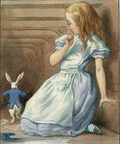 Alice and white rabbit. John Tenniel.