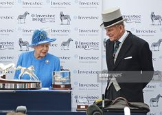 HRH Queen Elizabeth II (L) and Prince Philip, Duke of Edinburgh, attend Derby Day during the Investec Derby Festival, celebrating The Queen's 90th Birthday, at Epsom Downs Racecourse on June 4, 2016 in London, England.  (Photo by David M. Benett/Dave Benett/Getty Images for Investec)