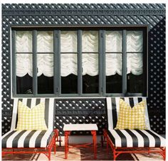 This reminds me of Mrs. Robinson's parlor room from the movie The Graduate. Outdoor Living Rooms, Outdoor Spaces, Living Spaces, Outdoor Decor, Fresco, Fixer Upper Style, Lattice Wall, Parlor Room, My Pool