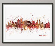 San Diego California Skyline Art Print 564 by artPause on Etsy, £12.99