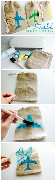 DIY stenciled burlap bags made with the Silhouette ❥ 4U hilariafina  http://www.pinterest.com/hilariafina/