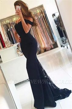Image of Long-Mermaid-Bridesmaid-Dresses-Navy-Blue-Lace-Appliques-Evening-Gowns Mermaid Prom Dresses Lace, Mermaid Evening Gown, Lace Evening Dresses, Cheap Prom Dresses, Junior Dresses, Evening Gowns, Dress Lace, Lace Mermaid, Mermaid Style