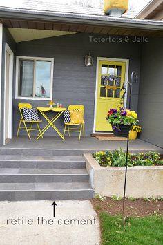 DIY Spring Porch Makeover-- love the yellow door :) Concrete Patios, Concrete Porch, Cement Patio, Cement Steps, Concrete Front Steps, Yellow Front Doors, Front Door Colors, Front Door Decor, Front Porch Makeover