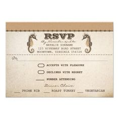 "vintage seahorses unique wedding rsvp tickets announcements  beautiful typographic ticket style - wedding rsvp design with vintage seahorses and aged paper background. I suggest the ""Linen"" or ""Felt"" paper for this design. If you need more additional products (like table cards, wedding stickers etc), please contact me. If you like my style, please go to my store"