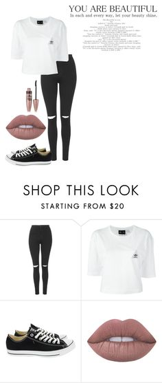 """""""you are beautiful"""" by pri-pitu ❤ liked on Polyvore featuring Topshop, adidas, Converse, Lime Crime and Maybelline"""