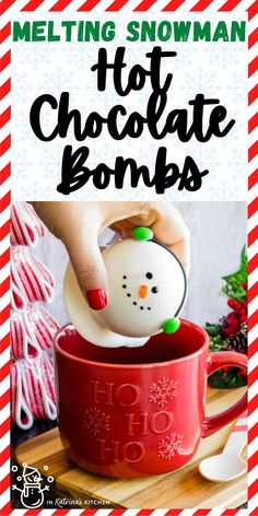 Pour warm milk over these adorable Melting Snowman Hot Chocolate Bombs and watch them pop open with hot cocoa and marshmallows. Give it a quick stir, and you'll be sipping the most deliciously rich hot chocolate! PRINT and PIN full recipe and tutorial at In Katrina's Kitchen today!