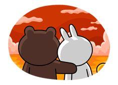 Brown & Cony's Lovey Dovey Date sticker Cony Brown, Brown Bear, Cute Love Gif, Cute Love Cartoons, Bear Wallpaper, Line Friends, Line Store, Lovey Dovey, Line Sticker